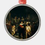 El guardia nocturna - Rembrandt Adorno Navideño Redondo De Metal