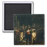 El guardia nocturna - Rembrandt Imán Cuadrado