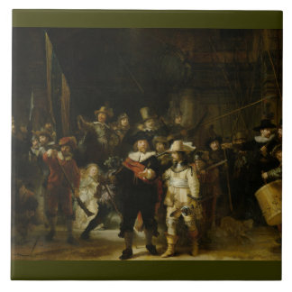 El guardia nocturna, Rembrandt Van Rijn Azulejo Cuadrado Grande