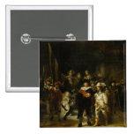 El guardia nocturna, Rembrandt Van Rijn Pin Cuadrada 5 Cm