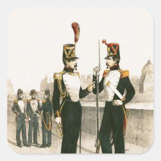 El guardia parisiense de Municipale Pegatina Cuadrada