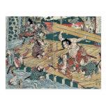 El guerrero Hachiro Tametomo por Katsukawa, Shunte Tarjetas Postales