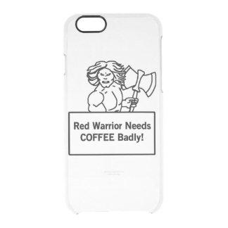 el guerrero rojo necesita el café gravemente funda clearly™ deflector para iPhone 6 de uncommon