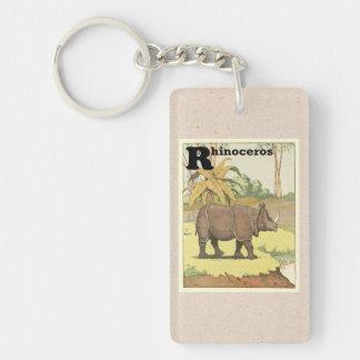 El guión del rinoceronte llavero rectangular acrílico a doble cara