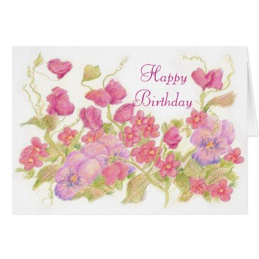 El guisante de olor rosado florece el jardín del tarjeta de felicitación