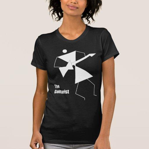 El guitarrista (blanco en oscuridad) camiseta