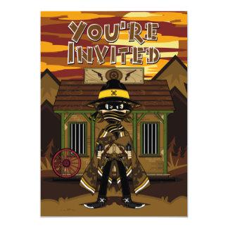 """El Gunslinger del vaquero en el fiesta de la Invitación 5"""" X 7"""""""