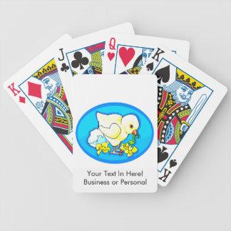 el gusano del polluelo florece óvalo azul barajas de cartas
