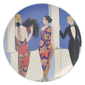 El gusto de Shawls, 1922 (impresión del pochoir) Plato Para Fiesta