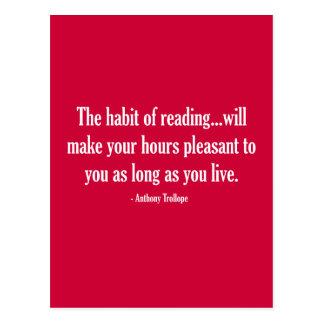 El hábito de la lectura hará sus horas agradables tarjetas postales