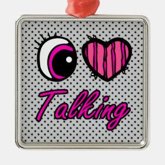 El hablar del amor del corazón I del ojo de Emo Adorno Cuadrado Plateado