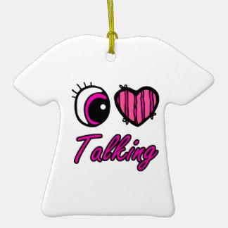 El hablar del amor del corazón I del ojo de Emo Adorno De Cerámica En Forma De Playera