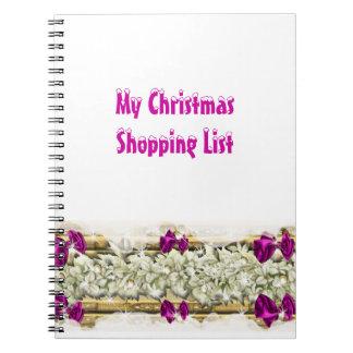 El hacer compras de las decoraciones de la nieve d libreta espiral