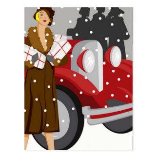 El hacer compras en la nieve postal