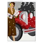El hacer compras en la nieve tarjeton