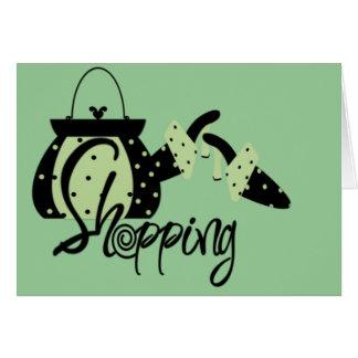 El hacer compras en verde tarjeta de felicitación