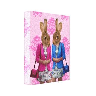 El hacer compras que va de los chicas divertidos d impresión en lona estirada