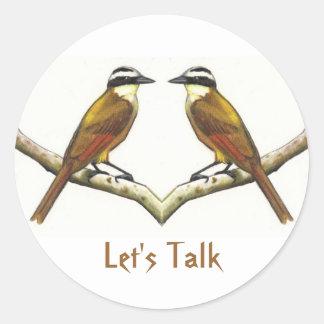 El hacer frente de dos pájaros: Kiskadees en lápiz Pegatina Redonda