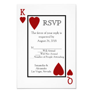"""El hacer juego de naipe rojo RSVP Invitación 3.5"""" X 5"""""""