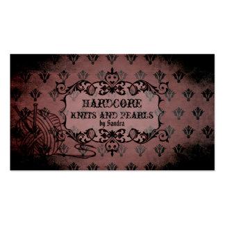 el hacer punto apenado damasco púrpura rosado eleg tarjetas de visita