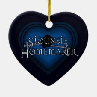 El hacer punto azul del casero de Siouxsie Adorno De Cerámica En Forma De Corazón