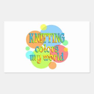 El hacer punto colorea mi mundo rectangular pegatina