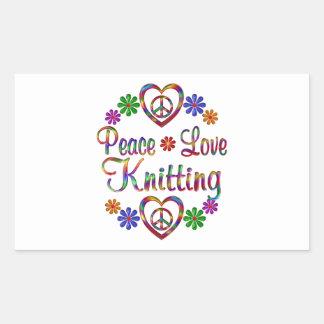 El hacer punto colorido del amor de la paz rectangular pegatinas