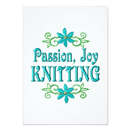 """El hacer punto de la alegría de la pasión invitación 5"""" x 7"""""""