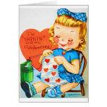 El hacer punto de la tarjeta del día de San Valent