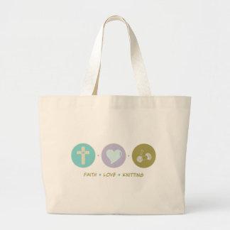 El hacer punto del amor de la fe bolsa tela grande