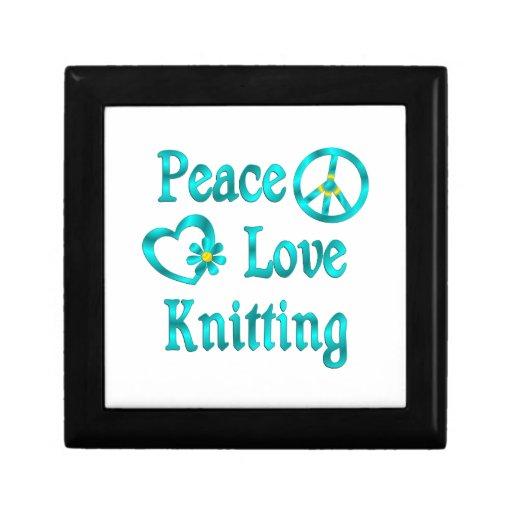 El hacer punto del amor de la paz cajas de regalo