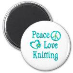 El hacer punto del amor de la paz iman de nevera
