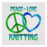 El hacer punto del amor de la paz impresiones