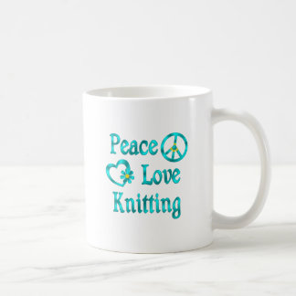 El hacer punto del amor de la paz taza básica blanca