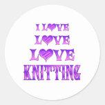 El hacer punto del amor del amor etiquetas redondas