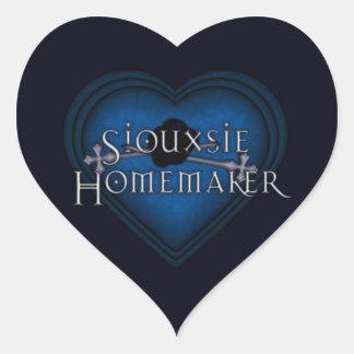 El hacer punto del casero de Siouxsie (azul) Pegatina En Forma De Corazón