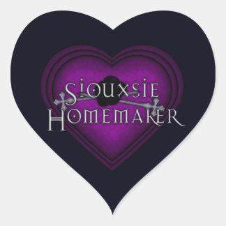 El hacer punto del casero de Siouxsie (púrpura) Pegatina En Forma De Corazón