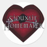 El hacer punto del casero de Siouxsie (rojo) Etiqueta Redonda
