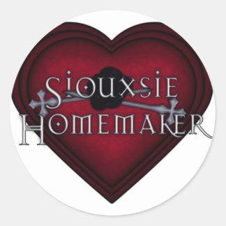 El hacer punto del casero de Siouxsie (rojo) Pegatina Redonda
