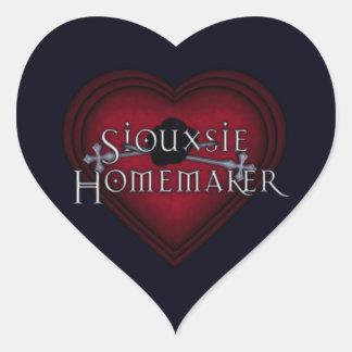 El hacer punto del casero de Siouxsie (rojo) Pegatina En Forma De Corazón