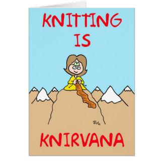 el hacer punto es knirvana tarjeta de felicitación