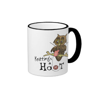 El hacer punto lindo del búho tazas de café