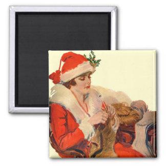 El hacer punto para el navidad imán cuadrado