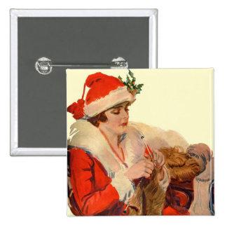 El hacer punto para el navidad pin cuadrado