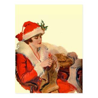 El hacer punto para el navidad postales