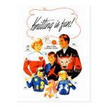 ¡El hacer punto retro de las mujeres 60s del vinta Postal