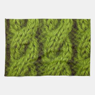 El hacer punto verde del cable toallas de mano
