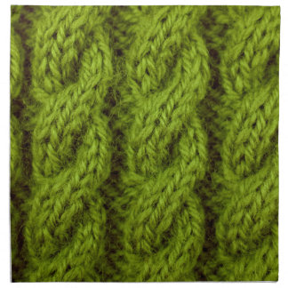 El hacer punto verde del cable servilletas imprimidas