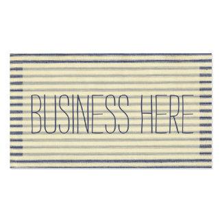 El hacer tictac retro francés rayado azul y blanco tarjetas de visita