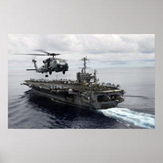 El halcón del mar de MH-60R sale USS Juan C Stenni Póster